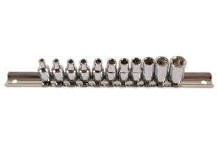 "Laser 3399 Socket Set on Rail - BA 1/4""D 11 piece"